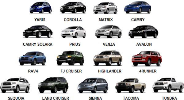 Модели автомобилей Тойота